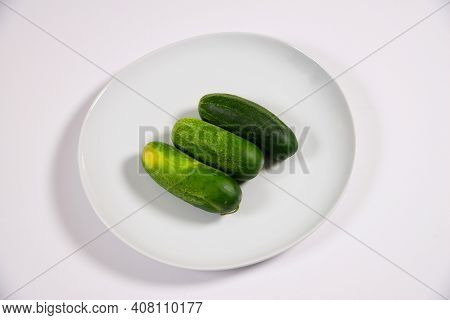 Isolated Image Of A Plate With Cucumber Green Diet