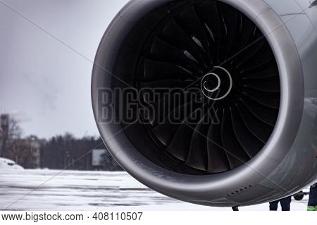 Airplane Turbine. Engine Blades. Airport In The Winter In The Snow. Airplane Propeller. Turbine Blad
