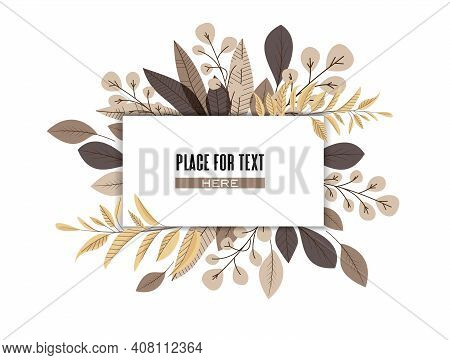 Vector Illustration Of Decoration Leaves. Natural Background, Invitation Card Template With Branches