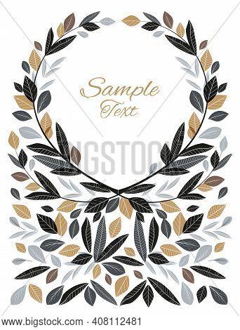 Vector Illustration Of Decoration Leaves. Decorative Frame. Natural Background, Invitation Card Temp
