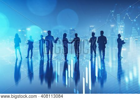 Silhouette Of Business People In A Row Standing Over Aerial Singapore Cityview. Concept Of A Busines
