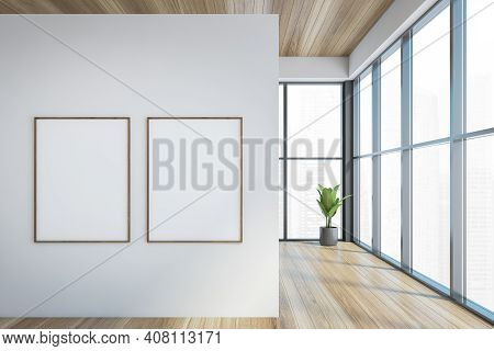Modern Office Entrance Area With White Wall Wooden Parquet. Panoramic City View Windows. Two Canvas