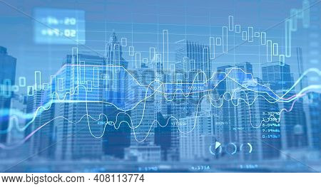 Financial Chart Over Panoramic New York City View. The Concept Of International Consulting At Nyc. D