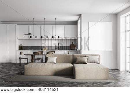 Mockup Canvas Frame In White Kitchen Room With Beige Sofa, Table And Chairs. Furniture In Kitchen Ro