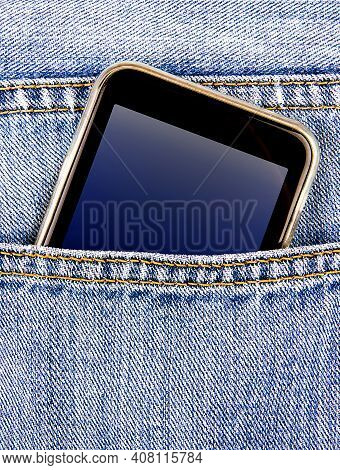 Mobile Phone In The Jeans Pocket Closeup