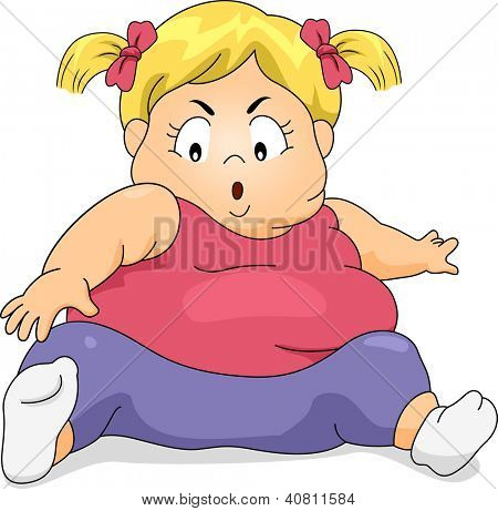 Illustration of an Obese Girl Trying to Exercise by Reaching Her Toes