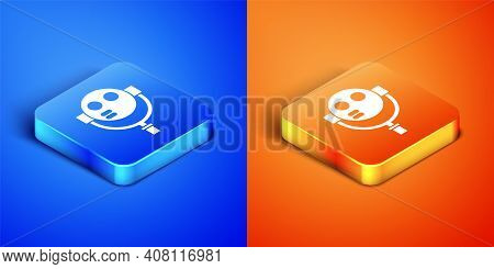Isometric Tourist Binoculars Icon Isolated On Blue And Orange Background. Binoculars Telescope On Th