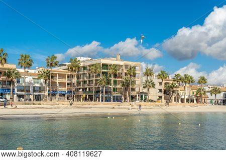 Colonia De Sant Jordi, Spain; February 13 2021: The Beach Of Colonia De Sant Jordi And The Beachfron