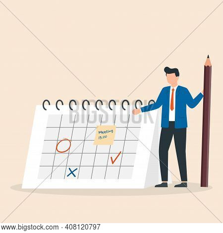 Manager Planning Event, Marking Date On Calendar Page. Work Schedule Calendar. Scheduling, Time Mana