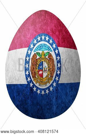 Missouri State Flag Easter Egg, Missouri Happy Easter, Clipping Path