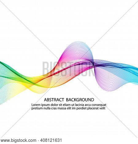 Wavy Abstract Design In Rainbow Colors. Ribbon Concept With Varied Gradients. White Isolated Backgro