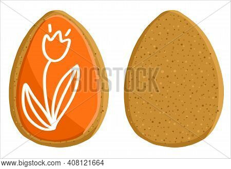 Gingerbread In The Form Of A Red Egg With Or Without Icing. Illustration, Vector On An Isolated Back