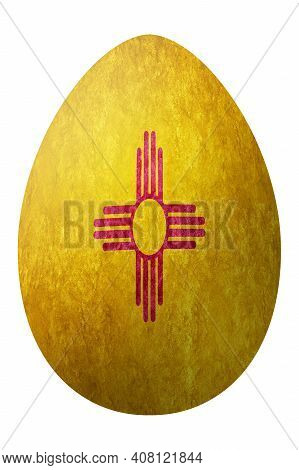New Mexico State Flag Easter Egg, New Mexico Happy Easter, Clipping Path