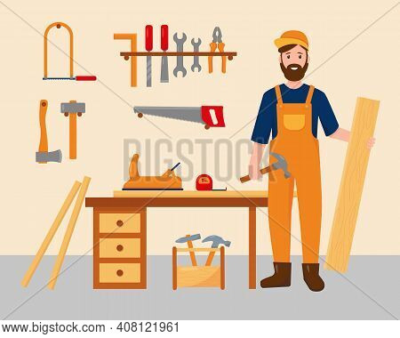 Carpenter In His Workplace With Work Tools. Profession People Concept. Carpenter Character Near Desk