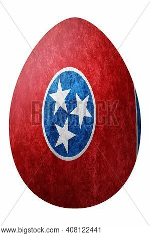 Tennessee State Flag Easter Egg, Tennessee Happy Easter, Clipping Path