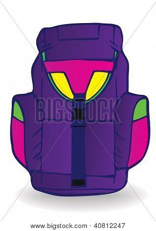 Vector Illustration A Blue Tourist Backpack.