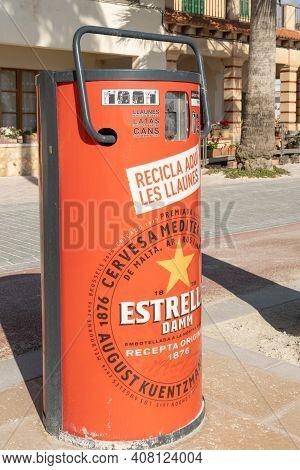 Colonia De Sant Jordi, Spain; Fenruary 13 2021: Estrella Damm Beer Company's Recycling Space For Met
