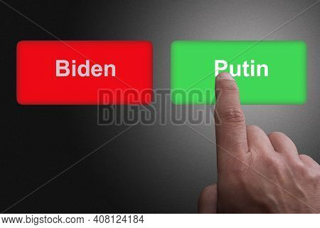 Red Button With The Word Biden And Green Button With The Word Putin Concept For Relations Between Th