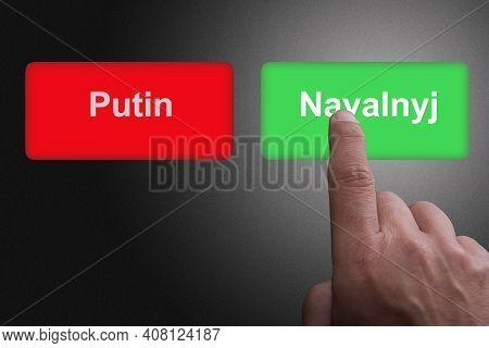 Red Button With Putin And Green Button With Navalyj