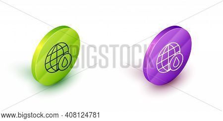 Isometric Line Earth Planet In Water Drop Icon Isolated On White Background. World Globe. Saving Wat