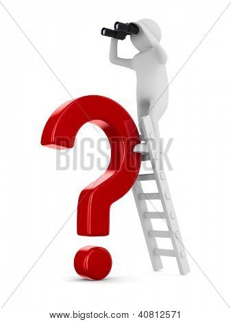 man on staircase and red question. Isolated 3D image