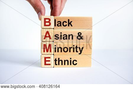Bame Symbol. Abbreviation Bame, Black, Asian And Minority Ethnic On Wooden Cubes. Beautiful White Ba
