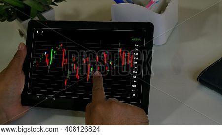Businessman Checking Stock Market Dataมstock Market Application For Mobile, Analyzing Data Stock Mar