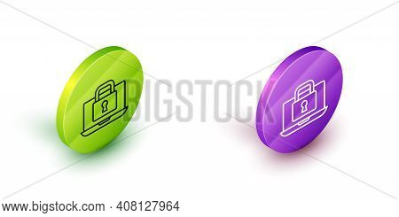 Isometric Line Laptop And Lock Icon Isolated On White Background. Computer And Padlock. Security, Sa