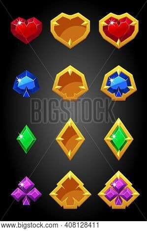 Vector Set Of Game Card Suits Icons Constructor.