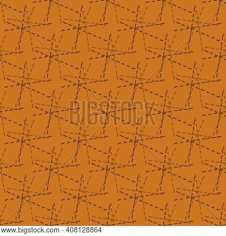 Starburst Stitch Seamless Vector Pattern Background. Modern Needlework Abstract Sashiko Interpreted
