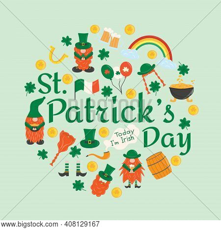 Elements For St. Patrick S Day. Set With Leprechauns, Horseshoe, Clover, Beer, Barrel, Irish Gnomes,