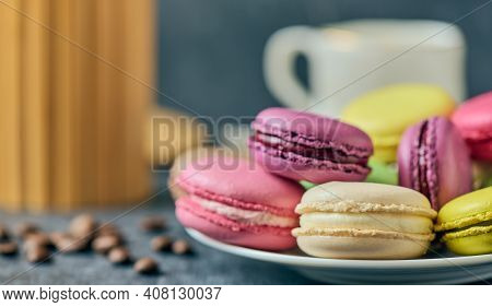 French Macaroons, Parisian Dessert, Sweet Food And Cake, Pastry, Bakery And Branding Concept, Shallo