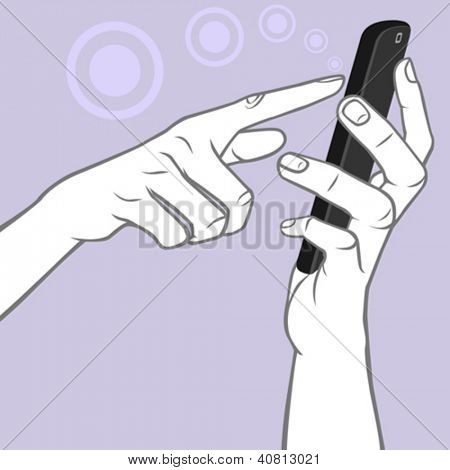 Hand Holding A Smart-phone - A Multi-touch Tap Gesture