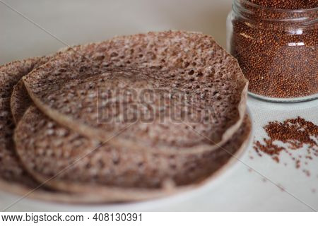 Hoppers Made Of Finger Millet Also Known As Ragi In India.