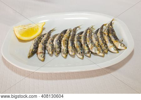 Espetos On Plate. Espetos Are Skewer With Sardines Grilled Beside The Beach. Costa Del Sol, Malaga,