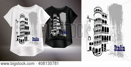 Beautiful Print For A T-shirt. Vector Illustration Of White And Black Womens T-shirts. Isolated Imag