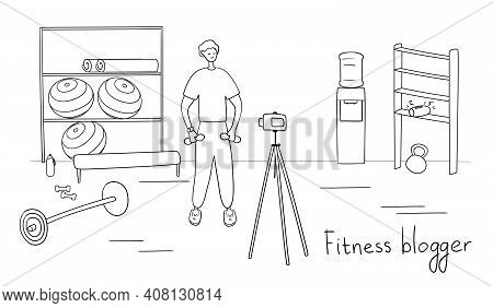 Man Blogger Is Recording Content For His Video Blog. Young Male Vlogger Doing Exercises. Sportsman S