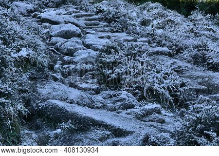 Beautiful Unrealistic View Of Frozen Stone Trail From Three Rock To Two Rock Mountain, Co. Dublin, I