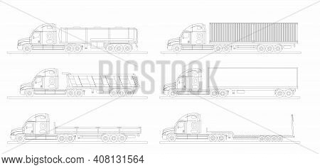 A Set Of Images Of A Modern American Truck With Different Variants Of Semi-trailers. Excursion.