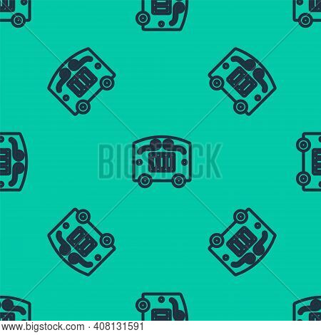 Blue Line Circus Wagon Icon Isolated Seamless Pattern On Green Background. Circus Trailer, Wagon Whe