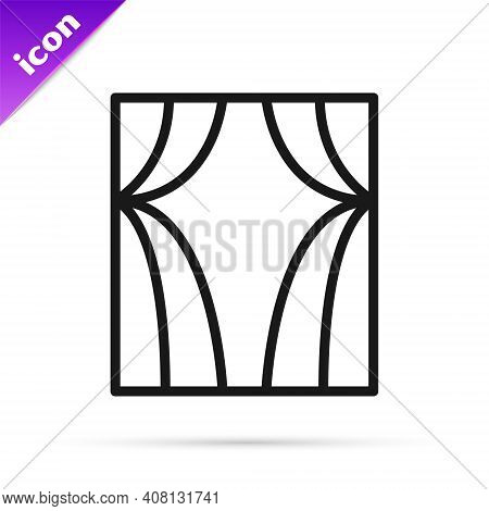 Black Line Circus Curtain Raises Icon Isolated On White Background. For Theater Or Opera Scene Backd