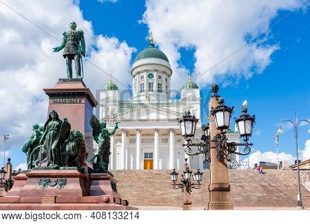 Helsinki Cathedral And Alexander Ii Monument On Senate Square, Finland