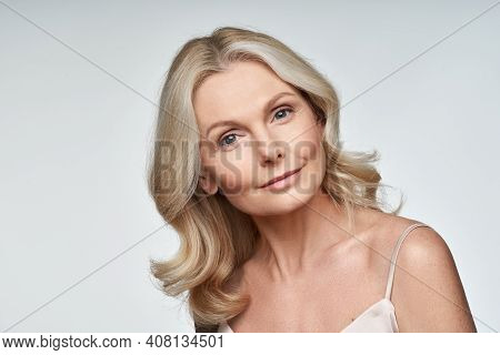 Beautiful 50s Middle Aged Mature Woman Looking At Camera Isolated On White. Mature Old Lady Close Up