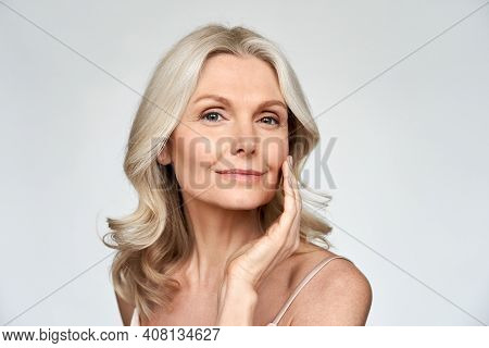 Beautiful Gorgeous 50s Mid Aged Mature Woman Looking At Camera Isolated On White. Mature Old Lady Cl