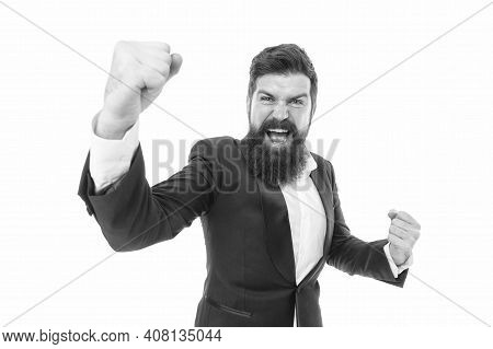 Time For Celebrating. Happy Winner Isolated On White. Businessman Make Winning Gesture. Bearded Man