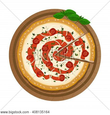 Pizza On A Wooden Plate With A Cut Slice. Served Fresh Pizza Margarita With Cheese, Tomatoes, Sauce,