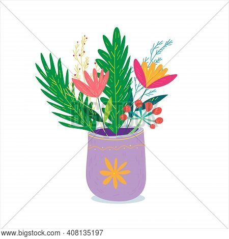 Bouquet Of Wild Flowers In A Vase. Cute And Cozy Cartoon Hand Drawn Vector Illustration On Isolated