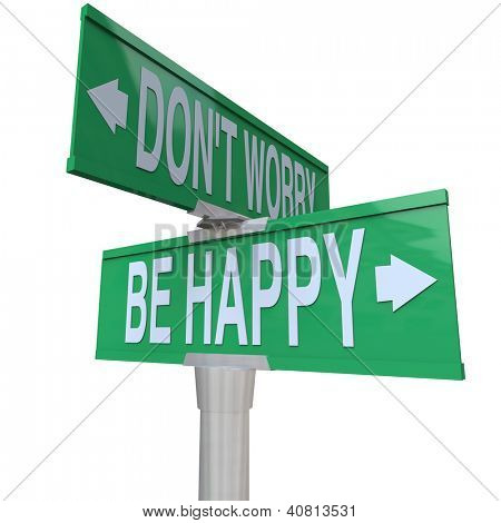 Two-way street or road signs pointing in different directions with the words Don't Worry and Be Happy