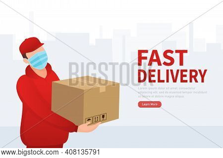 Flat Icon With Fast Delivery People For Mobile App Design. Fast Courier. Stay Safe. Safe Food Delive
