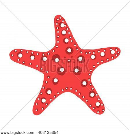 Red Starfish Illustration. A Sea Creature In A Flat Design. The Star With Legs Icon Is Isolated On A